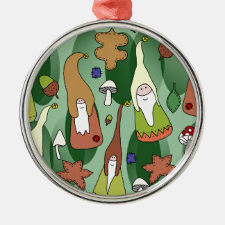 Woodland Gnomes Silver-Colored Round Decoration