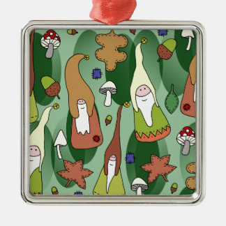 Woodland Gnomes Silver-Colored Square Decoration