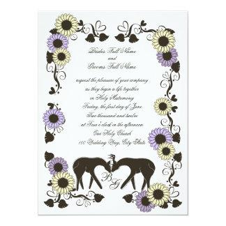 Woodland Love Sunflower Wedding Card