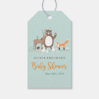 Woodland Mint and Orange Baby Shower Gift Tags