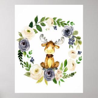 Woodland moose navy floral nursery print