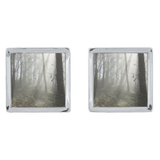 Woodland Morning Mist Cufflinks Silver Finish Cufflinks
