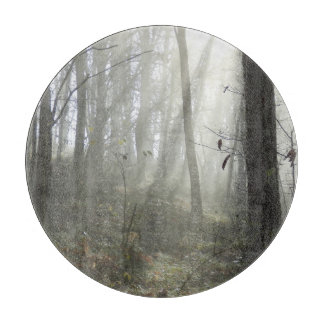 Woodland Morning Mist Glass Chopping Board