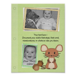 Woodland Mouse Baby Book Page Poster