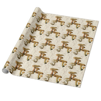 Woodland Mushrooms Woodgrain Pattern Wrapping Paper