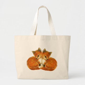 Woodland Nursery Baby Twin Foxes Large Tote Bag
