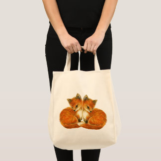 Woodland Nursery Baby Twin Foxes Tote Bag