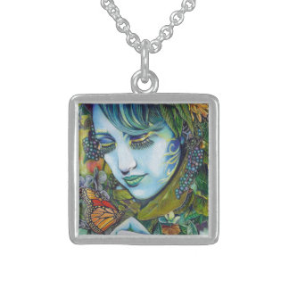 Woodland Nymph and Butterfly Friend Square Pendant Necklace