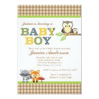 Woodland Owl Baby Shower invitation Boy