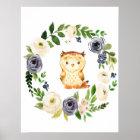 Woodland Owl navy floral nursery print
