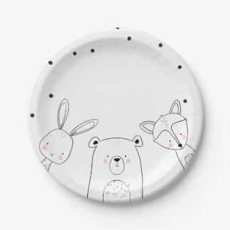 Woodland Paper Plates Baby shower Animals Fox bear