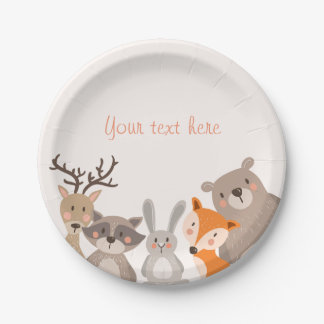 Woodland Paper Plates Baby shower Animals Fox bear