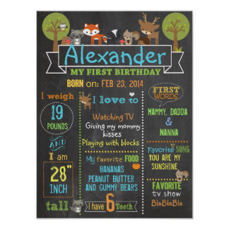 Woodland Party first birthday sign poster
