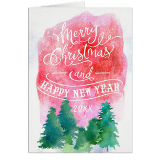 Woodland Pine Trees|Christmas and Happy New Year Greeting Card