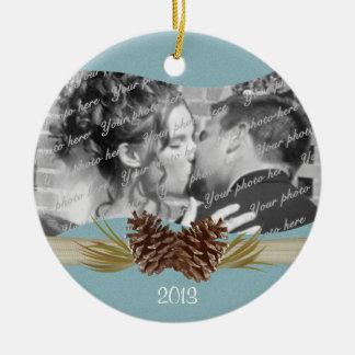 Woodland Pinecones Blue Photo Christmas Ornament