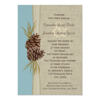 Woodland Pines Blue Wedding 13 Cm X 18 Cm Invitation Card