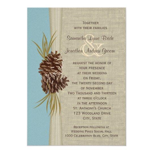 Woodland Pines Blue Wedding Card