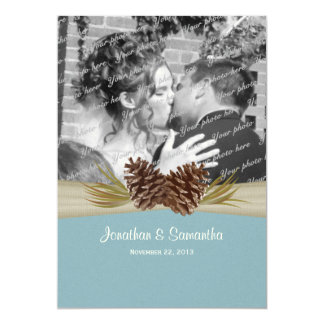 Woodland Pines Blue Wedding with Photo Card