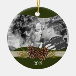 Woodland Pines Photo Christmas Ornament