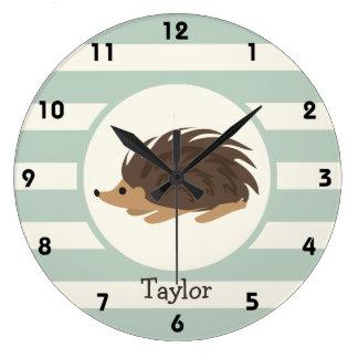 Woodland Porcupine, Hedgehog; Light Sage Green Large Clock