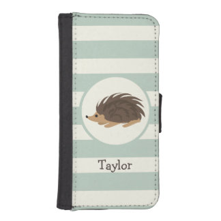 Woodland Porcupine, Hedgehog; Light Sage Green iPhone 5 Wallets