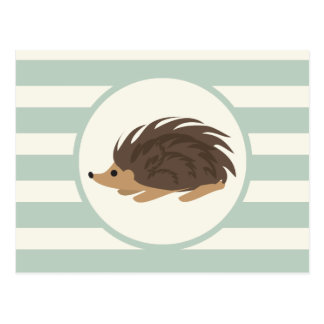 Woodland Porcupine, Hedgehog; Light Sage Green Postcard