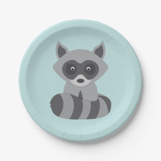 Woodland Raccoon 7 Inch Paper Plate