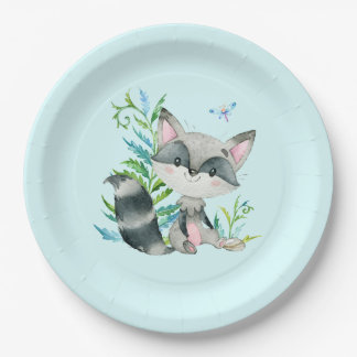 Woodland Raccoon Whimsical Aqua Paper Plate