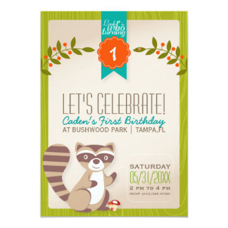 Woodland Racoon Birthday Invitation