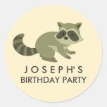Woodland Racoon Birthday Sticker