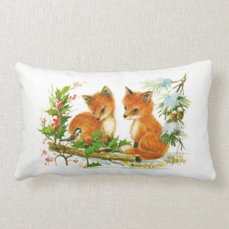 Woodland Red Foxes and Bird Christmas Snow Scene Lumbar Cushion