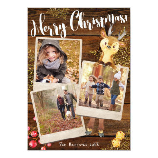 Woodland Reindeer | 3-Photo Personalized Christmas Card