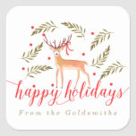 Woodland Reindeer Happy Holidays Personalised Square Sticker