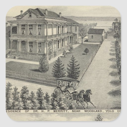 Woodland residences lithographed drawing square sticker