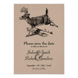 Woodland | Rustic Deer Kraft Paper Save the Date Card