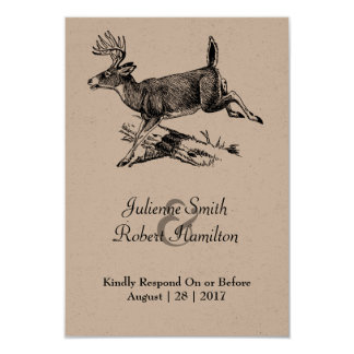 Woodland | Rustic Deer Wedding RSVP Card 9 Cm X 13 Cm Invitation Card