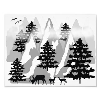 Woodland Rustic Deer Winter Mountain Forest Trees Photo Print
