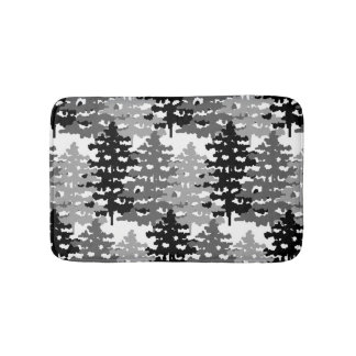 Woodland Rustic Gray Forest Pine Trees Winter Bath Mat