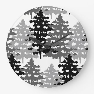 Woodland Rustic Gray Forest Pine Trees Winter Large Clock