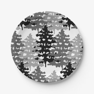 Woodland Rustic Gray Forest Pine Trees Winter Paper Plate
