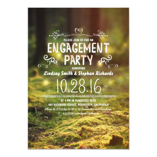 woodland  rustic outdoor engagement party invites