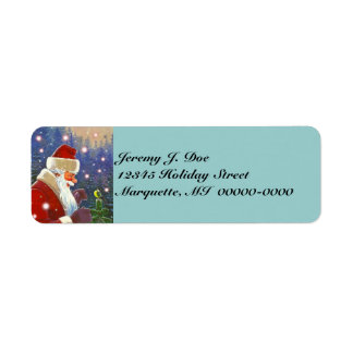 Woodland Santa & Natural Tree Topper Chickadee Return Address Label