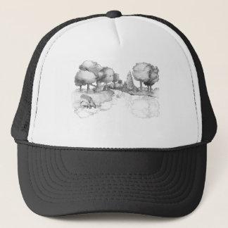 Woodland scene with deer trucker hat