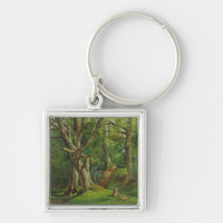Woodland Scene with Rabbits, 1862 (oil on canvas) Key Ring
