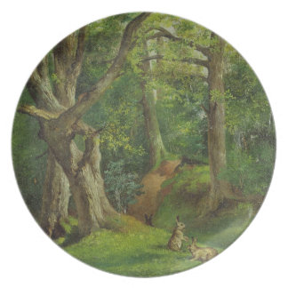 Woodland Scene with Rabbits, 1862 (oil on canvas) Party Plates