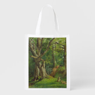 Woodland Scene with Rabbits, 1862 (oil on canvas) Grocery Bag