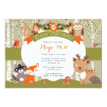 Woodland Shower - Forest Animals Themed Baby Showe 13 Cm X 18 Cm Invitation Card