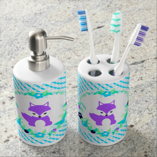 Woodland Story Soap Dispenser And Toothbrush Holder