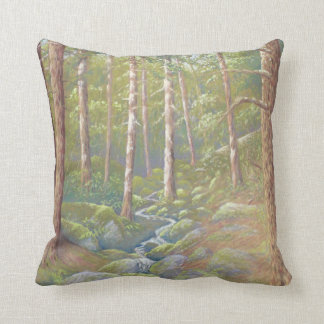 Woodland Stream, Peak District Polyester Cushion