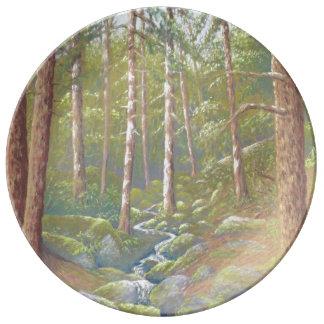 Woodland Stream, Peak District Porcelain Plate